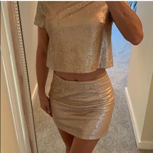 Champagne Gold Sequined Two-Piece Skirt Set, Sm